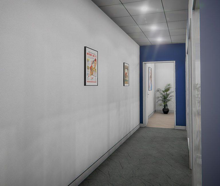 Couloir de bureau réalité virtuelle